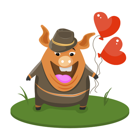 Cute happy pigs dressed in a black tuxedo and hat, funny cartoon animals dressed in human clothes vector illustration  イラスト・ベクター素材