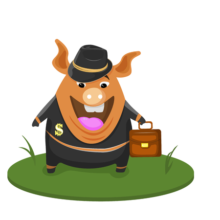 Cute pig businessman. Vector EPS10 Cartoon pig and a suit and hat.