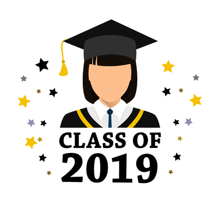 Student degrees faceless avatars, women in mortarboard hats. Stock vector.  イラスト・ベクター素材