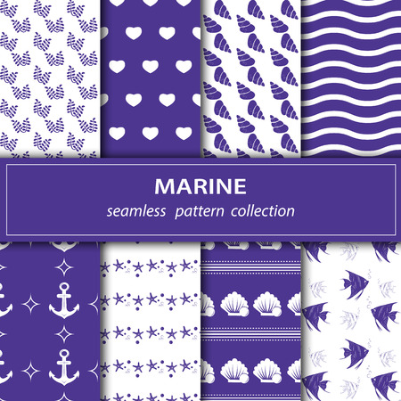 A set of paintings. Eight pieces of paintings on the marine theme. Cruise, vacation, sea, summer. Seamless fabric. Stock vector 矢量图片