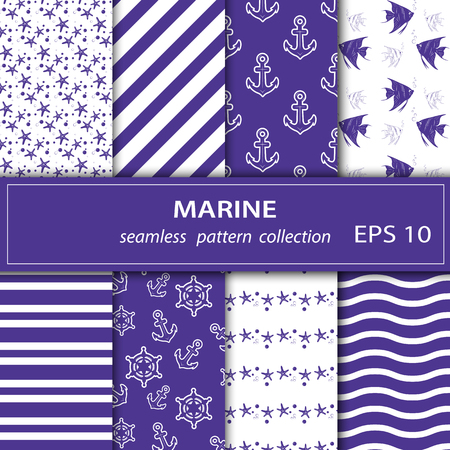 A set of paintings. Eight pieces of paintings on the marine theme. Cruise, vacation, sea, summer. Seamless fabric. Stock vector.