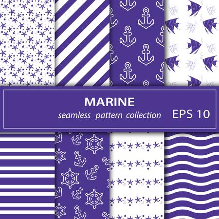Un conjunto de pinturas. Ocho cuadros de temática marina. Crucero, vacaciones, mar, verano. Tejido sin costuras. Stock vector.