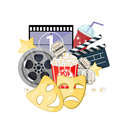 Movie time vector illustration. Cinema poster concept on red round background. Composition with popcorn, clapperboard, 3d glasses and a film, popcorn. Cinema banner design for movie theater.  イラスト・ベクター素材