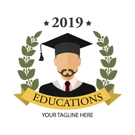 Graduate student guy with a beard. Icon. Flat graduation illustration isolated for any web design.