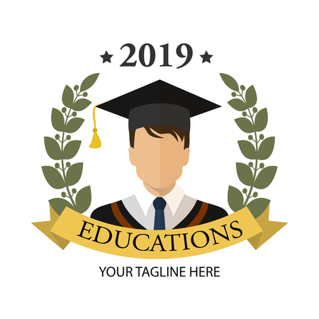 Graduate student guy with dark hair. Icon. Flat graduation illustration isolated for any web design.