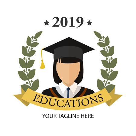 Graduate student girl icon. Flat isolated illustration of graduation for any web design.  イラスト・ベクター素材