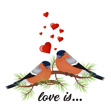 Two birds in love Valentine s day postcard.  illustration. Free space for text message. 写真素材