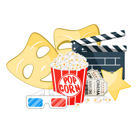 Composition with popcorn, clapperboard, 3d glasses and film, masks. 写真素材