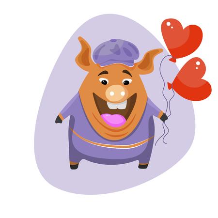 A cute cartoon pig holding a balloon in the shape of a heart.