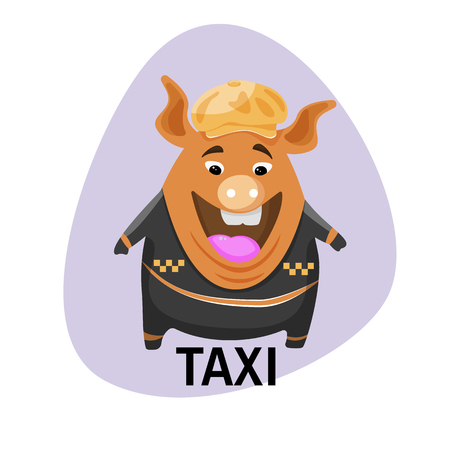 Pig in a cap taxi driver. Pig painted in cartoon style.