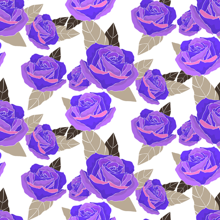 Violet rose flowers bouquet hand out elements vector seamless pattern. Happy Mother s Day, Women s Day, Girl s Birthday, Valentine s Day. Gift box of paper or linen design  イラスト・ベクター素材