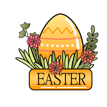 Decorative Easter eggs on green grass, flowers and leaves. Vector illustration  イラスト・ベクター素材