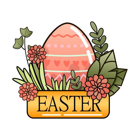 Decorative Easter eggs on green grass, flowers. Vector illustration