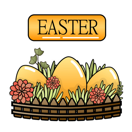 Decorative Easter eggs on green grass, three Easter eggs. Vector illustration.