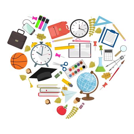 Set of heart shaped school supplies vector illustration.  イラスト・ベクター素材