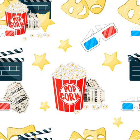 Design material of endless repeating background film. Elements of going to the cinema. Modern seasonal design, wrapping paper, clothing with textile print. Stock vector.