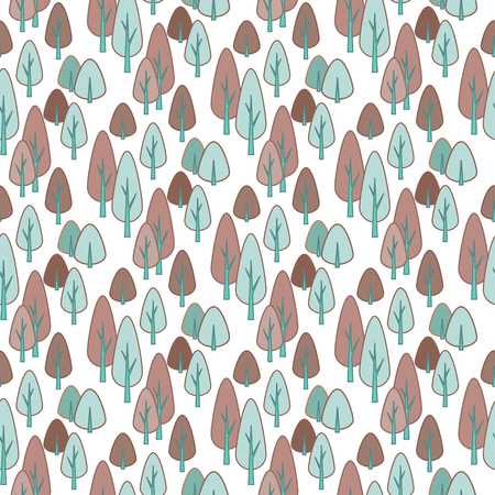 Seamless stylish pattern with cute drawn pines. Vector outline illustration.