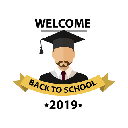 Student degrees faceless avatars, men in hats. Back to school background. Nice students. education concept, brochure template, your text, vector illustration.
