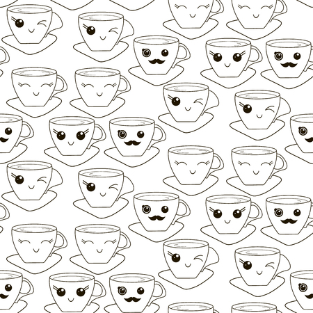 Vector seamless pattern with hand drawn kawaii cup. Black contour on a white background.  イラスト・ベクター素材