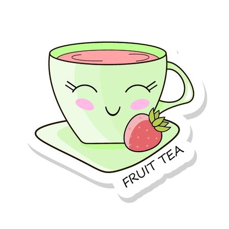 Cheerful kawaii kawaii sticker isolated on white background. Delicious fruit tea. Sweet tea drinking. Stock vector.