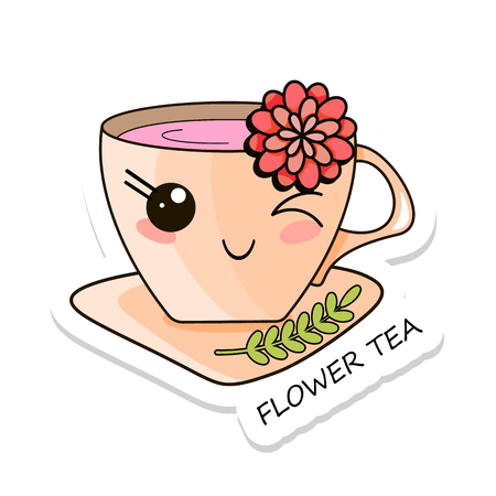Cheerful kawaii kawaii sticker isolated on white background. Delicious flower tea. Sweet tea. Stock vector.
