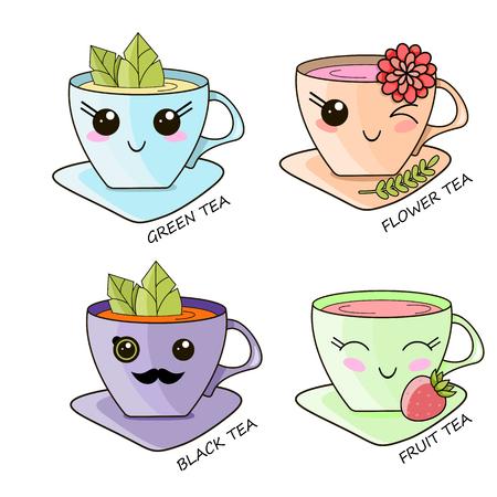 Cute Kawaii cups of hot tea tea bag vector design illustration.