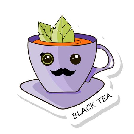 Cheerful kawaii kawaii sticker isolated on white background. Black tea. Stock vector.  イラスト・ベクター素材