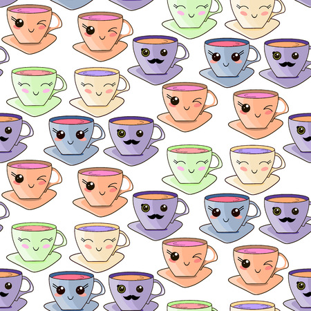 Vector seamless pattern with hand drawn kawaii cup. Funny kawaii cups on a white background.