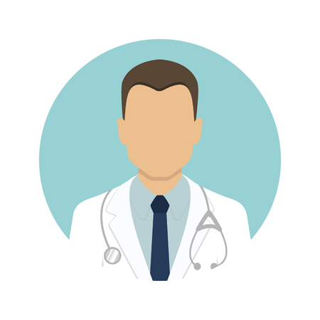 Medical icons. Avatars of a male doctor in a white coat. Vector illustration