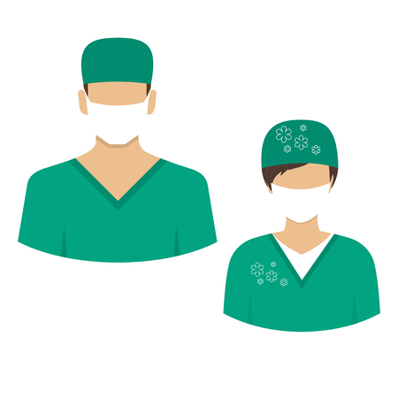 Medical icons. Avatars Dr. men and women in medical suit. Vector illustration