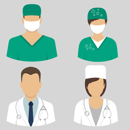 Medical icons. Doctor and nurse avatars. vector illustration