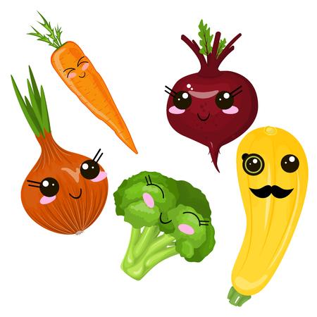 Funny cartoon cute ripe Bukar, yellow squash, long orange markovka. Funny face vector.