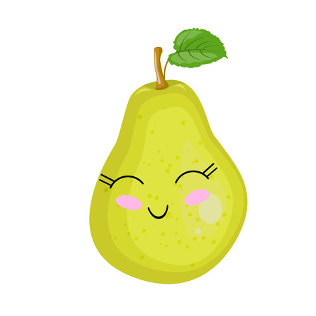 Funny cartoon cute ripe pear. Funny face vector.  イラスト・ベクター素材