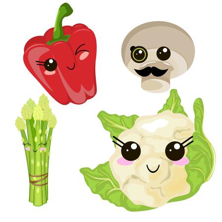 Funny cartoon cute cabbage, red ripe pepper, green juice, champignon mushroom. Funny face vector.  イラスト・ベクター素材