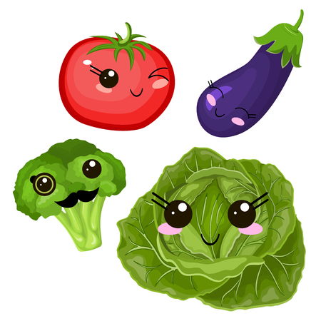 Funny cartoon cute beet, cabbage and ripe tomato. Purple eggplant. Funny face vector.  イラスト・ベクター素材