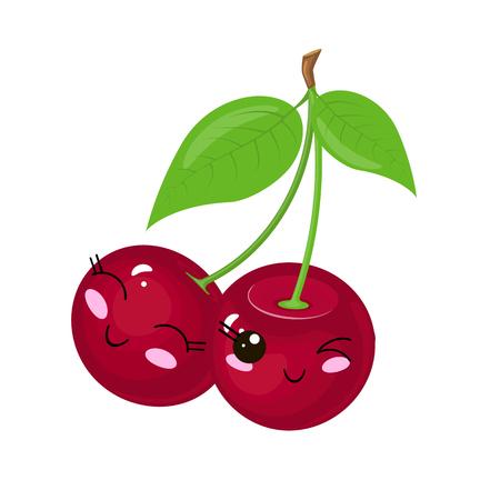 Funny cartoon cute ripe cherry. Funny face vector.  イラスト・ベクター素材