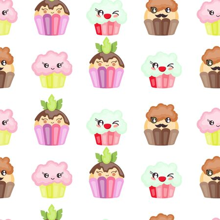 Seamless cupcake character