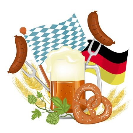Oktoberfest party poster  with fresh dark beer, pretzel, sausage and blue-white flag party on white