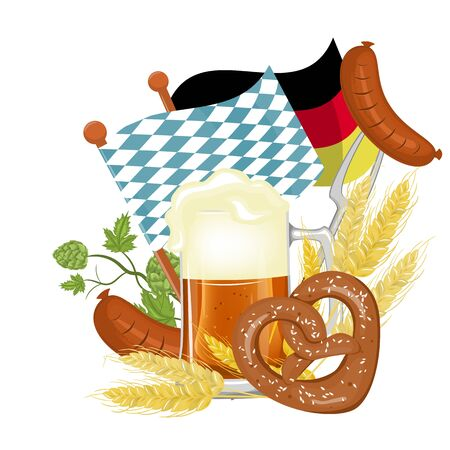 The poster of the Oktoberfest, the spray of beer with pretzel and wheat.