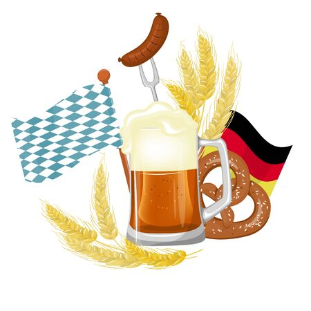 Oktoberfest festival poster, Beer splash with pretzel and wheat.