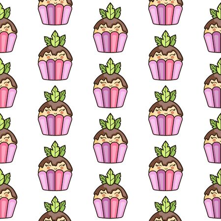 Seamless texture with cute  cupcake.  イラスト・ベクター素材