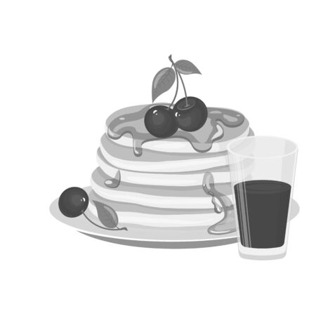Pancakes with cherry berries and honey icon. The juice mill stands pockmarked. Gray tones. Cartoon vector illustration isolated on white background.