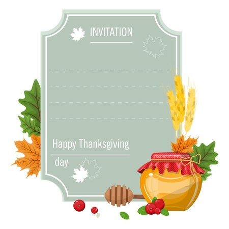 Hand drawn thanksgiving greeting card with maple leaves and a jar of honey . Vector illustration EPS 10