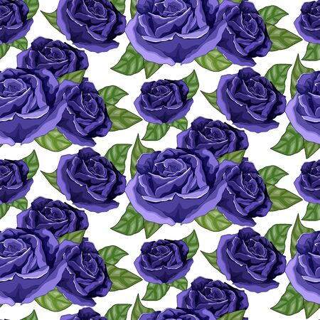 Shabby chic vintage rose blue, vintage seamless pattern  イラスト・ベクター素材