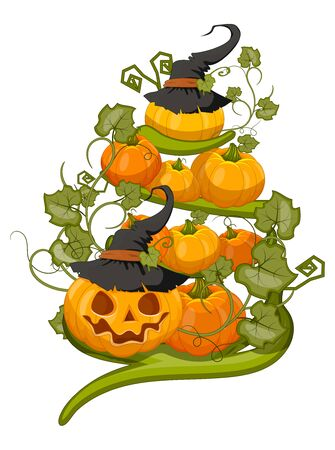 Halloween pumpkin set, funny face in . Autumn vacation. Vector illustration of EPS10.  イラスト・ベクター素材