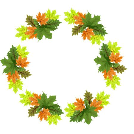 Vector set of autumn leaves round frames