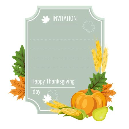 Hand drawn Thanksgiving greeting card with leaves, pumpkins and vegetables. Vector illustration eps 10.