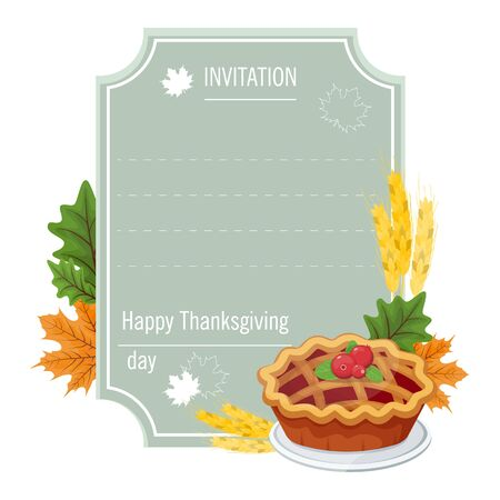 Hand drawn thanksgiving greeting card with pie . Vector illustration EPS 10