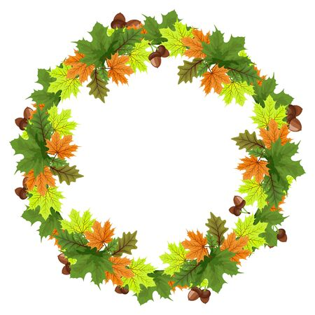 Vector set of autumn leaves with acorns, round frames. A collection of autumn themed frames in the shape of a circle with design elements with leaves, rowan berries, acorns and pine cones.
