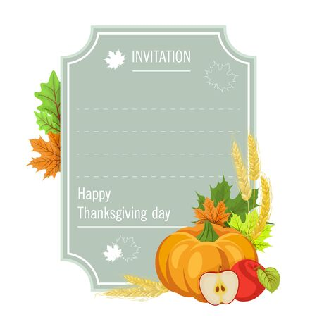 Hand drawn thanksgiving greeting card with pumpkin and Apple . Vector illustration EPS 10